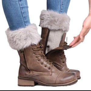 🆕 Faux Fur Boot Cuff (Cream/Gray)